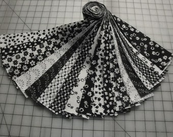"Jelly Roll-Black and White Prints by Choice Fabrics-20-2-1/2"" x 43"" Strips-Special Price"