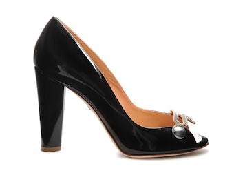Shoe open toe jewel - Black metallic