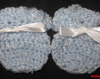 Crochet Baby Blue Mittens 0-3 Months