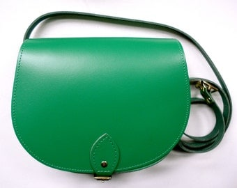 Bright Green Leather Saddle Bag - Handmade in UK