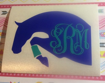 Hunter Jumper Monogram Vinyl Decal - Equestrian - Personalized - Choose your size!