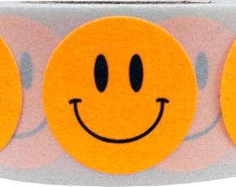 500 Fluorescent Orange Smiley Happy Face Stickers - 0.75 Inch Round