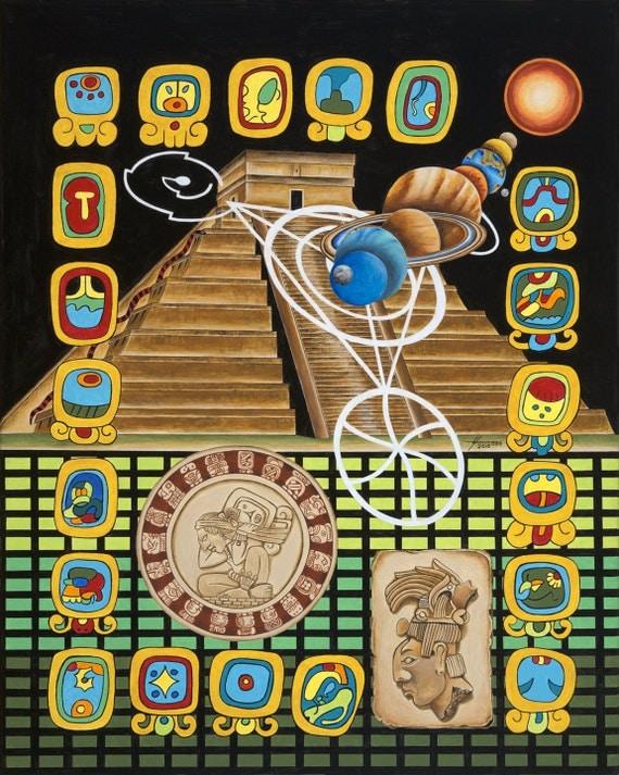 Maya Pyramid Poster-Mayan Symbols-Alignment of