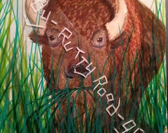 Wild Buffalo on the Oklahoma Prairie landscape; Bison; Greeting Card