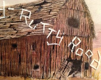 Old Barn; Rustic; Windmill; Prairie; Original Art; Handmade; painted; Greeting Card; Frameable Art;