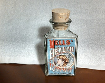 Vintage Corked Glass Bottle, Reproduction Label - Well's Health Renewer