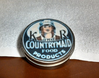 Vintage Metal Cheese Wheel Container with Reproduction Label K&R Countrymaid Food Products