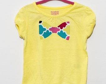GIRLS yellow designer fabric BOW TIE shirt in size 24 months