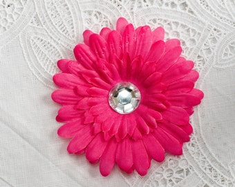 Pink Silk Daisy Flower Hair Clip with Jeweled center