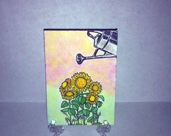 ACEO Art Card-Sunflowers
