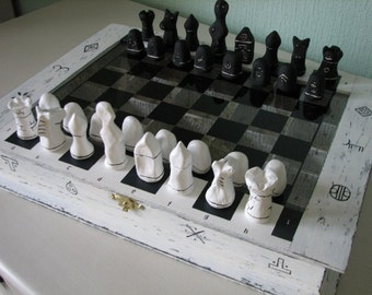 A set of chess and checkers. Board games. Handmade.