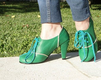 High heel leather handmade shoes / women shoes in green or blue leather / Model Esmeralda