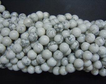 "15.5"" 4mm/6mm Natural white howlite round beads, semi-precious stone, DIY beads, White gemstone wholesale"