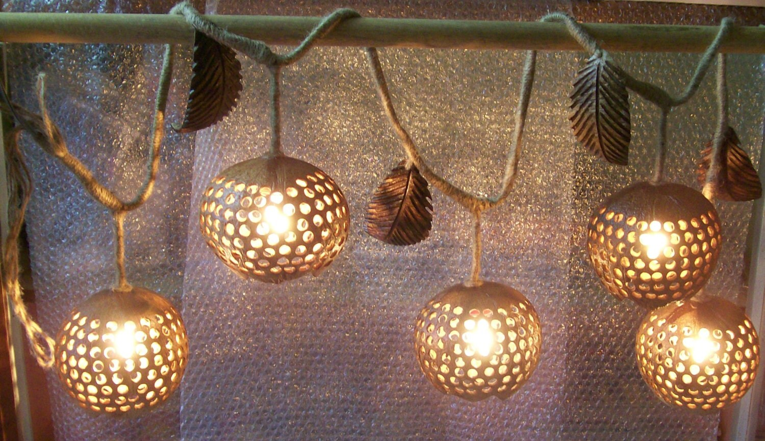 Wood Hanging Lamp Rope String Coconut Shell Ivy Vine by boonrat