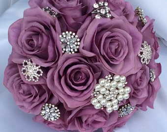 Brooch Bouquet-Lavender Silk Roses