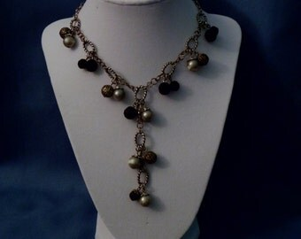Silver and Black bead and chain Necklace with detachable drop