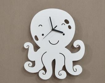 Octopus Kids Cartoon Silhouette - Wall Clock