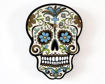Beige Sugar Skull - Day of the Dead -Dia de Los Muertos - Calavera - Wall Clock