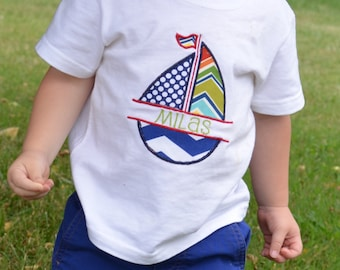 Toddler Boys Sailboat Shirt Personalized with Name