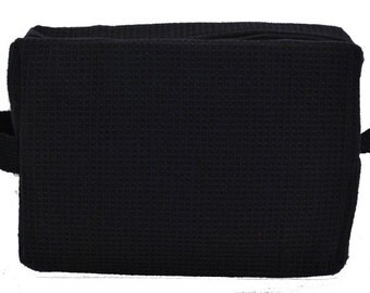 Personalized Waffle Cosmetic Bag Large Black with FREE Personalization & FREE SHIPPING ww-black