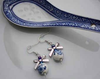 Handmade ceramic blue earrings