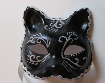 Cat Mask black with silver swirls and trim