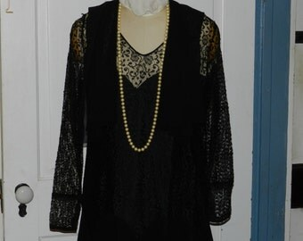 REDUCED! Antique Vintage Black Dress, Late 1920s Early 1930s, Art Deco, Goth - Size Small Medium