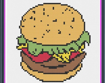 Classic Cartoon Burger Counted Cross Stitch PDF Pattern - INSTANT DOWNLOAD