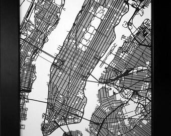 New York Map, Laser Cut Map, New York City, NYC Street Map, Map of NYC, New York Art, NYC Wall Art, New York Wedding, New York Decor, Gift