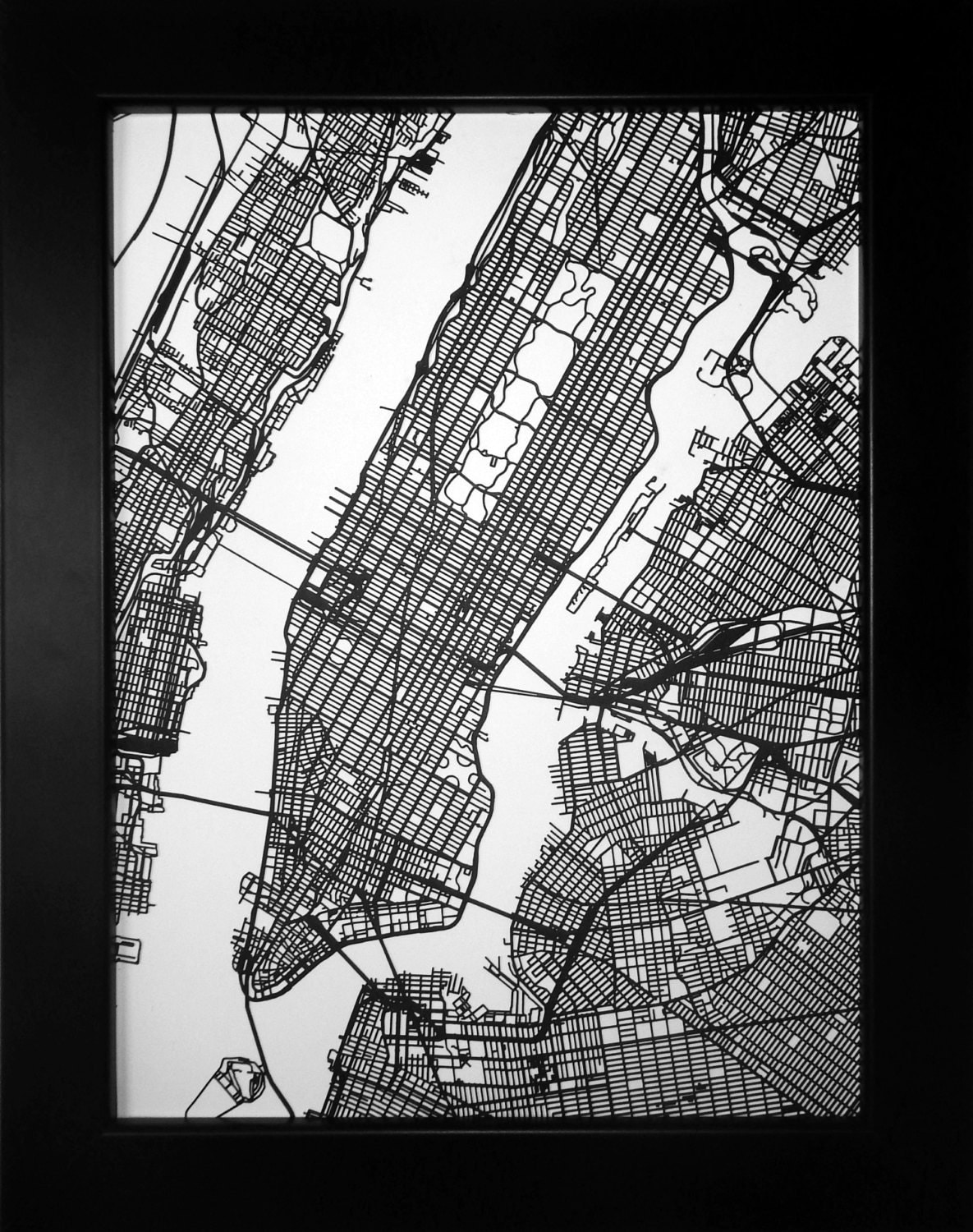 New York Map Laser Cut Map New York City NYC Street Map - New york map in 3d