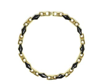 Gold plated necklace with black enamel