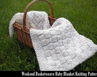 Weekend Basketweave Baby Blanket Knitting Pattern