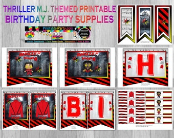 Thriller M.J. Printable Party Decorations
