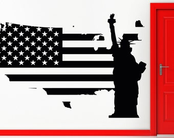 Wall Sticker USA Flag Statue of Liberty Freedom New York z1359