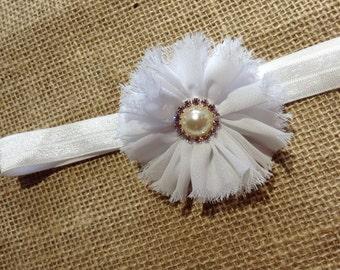 Newborn headband - Girls headband - Flower headband, White flower headband - Toddler headband - Baby headband - Headband for Girls