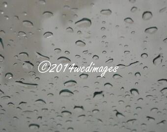 Digital Art Photography Rain Water Drops on Window Fine Art Home Decor
