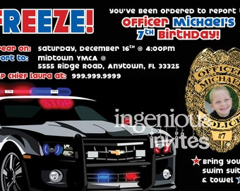 Police Car & Photo Badge 4x6 Party Invitation w/FREE Thank You Notes!