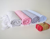 FREE & EXPRESS Shipping Set of 4 Cotton Turkish Towel,Bath and Beach Towel,Peshtemal,Peshtemal towel,navy,blue,gray,pink,striped