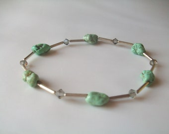 Natural turquoise nuggets, sterling silver, and Swarovski crystal stretch stacking bracelet