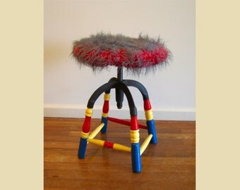 Antique Piano Stool with Faux Feather Seat