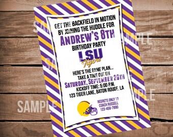 LSU Football Birthday Invitation