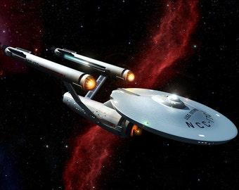 Star Trek Digital Art  Glossy Print  'Enterprise, The Original Series'