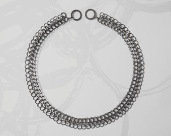 Black chain necklace, oxidised silver chain, chainmaille necklace (free delivery worldwide)