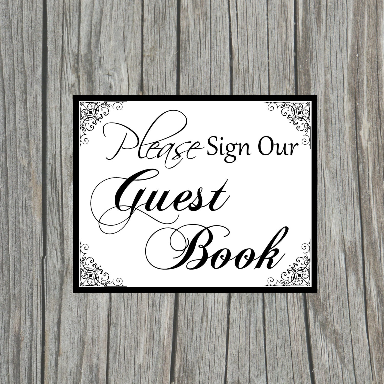 This is a picture of Persnickety Please Sign Our Guestbook Printable