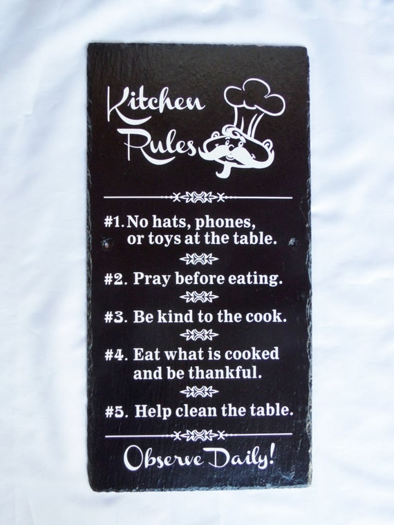 KITCHEN RULES - Kitchen Decor, Chef's Rules, Kitchen Sign - Rule Sign - Housewarming Gift - Chef's Gift - Family Meals