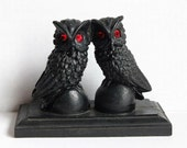 Gothic Black Coal Owls with Ruby Red Jeweled Eyes Vintage 1980s, Handcrafted Figurine Statue Owl Pair on Ball & Base Halloween Spooky