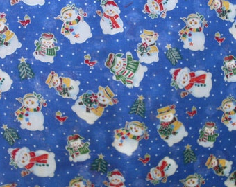 Smiling Snowmen on a Medium Blue Background Fabric