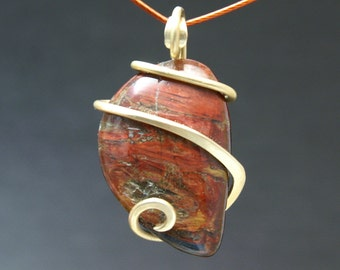 Red Pietersite Cold Forged Brass Pendant