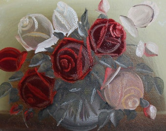 Antique flowers still life oil painting