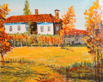 Vintage Impressionist oil painting country house signed